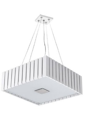 Pendente Madelustre Quadrado Branco Madeira Natural Maciça Rústica 4 Lamp. 42x42 Castor E-27 2568-Br   Sala de Jantar Quarto e Cozinha