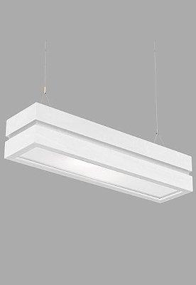 Pendente Madelustre Rústico Branco Retangular Madeira Natural Maciça 4 Lamp. 80x20 Adhara E-27 2519B   Sala de Jantar Quarto e Cozinha