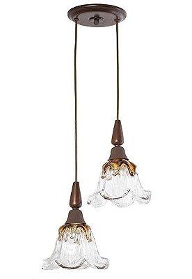 Pendente Madelustre Rústico Duplo Madeira Natural Maciça Cúpula Vidro Âmbar 2 Lamp. 36x24 Country E-27 2595-90   Sala de Jantar Quarto e Cozinha