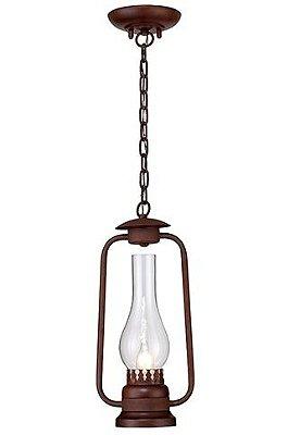 Pendente Madelustre Rústico Lampião Metal Envelhecido envelecido Cúpula de Vidro 1m  E-27 2624   Sala de Jantar Quarto e Cozinha
