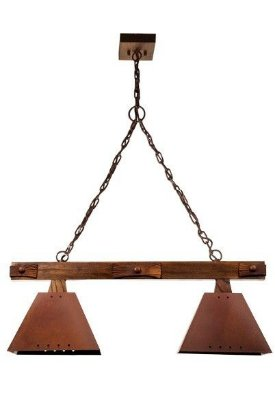 Pendente Madelustre Rústico Madeira Natural Maciça Cúpula Metal Envelhecido 2 Lamp. 75x1,50 Napoli E-27 2143.2   Sala de Jantar Quarto e Cozinha