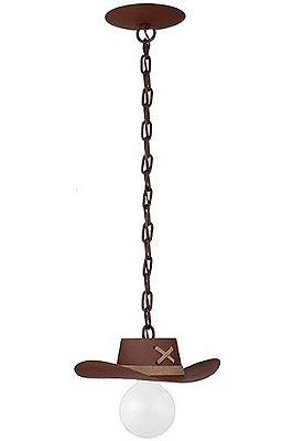 Pendente Madelustre Rústico Madeira Natural Maciça Esculpida Chapéu Cowboy E-27 2618   Sala de Jantar Quarto e Cozinha