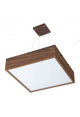 Pendente Madelustre Rústico Quadrado Madeira Natural Maciça Imbuia 6 Lamp. 62x62 Adhara E-27 2640-I   Sala de Jantar Quarto e Cozinha