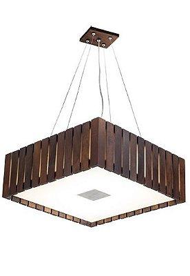 Pendente Madelustre Rústico Quadrado Madeira Natural Maciça Imbuia 6 Lamp. Regulável 53x53 Castor E-27 2569-Im   Sala de Jantar Quarto e Cozinha