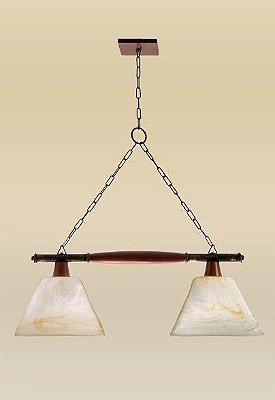 Pendente Madelustre Rústico Trilho Duplo Madeira Natural Maciça Vidro Acetinado Âmbar 2 Lamp. 71x1,30 E-27 2107   Sala de Jantar Quarto e Cozinha