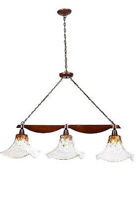 Pendente Madelustre Trilho Madeira Natural Maciça Rústica Vidro Âmbar 3 Lamp. 1,20x1,30m Ômega Country E-27 2544   Sala de Jantar Quarto e Cozinha