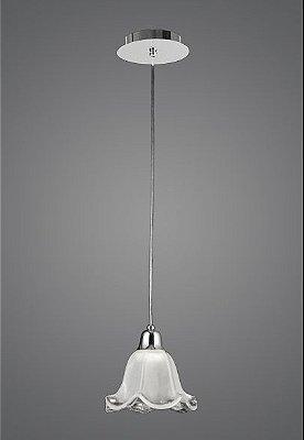 Pendente Madelustre Vertical Alumínio Cromado Cúpula Vidro Tecla Fosco Ø18cm E-27 2512   Sala de Jantar Quarto e Cozinha