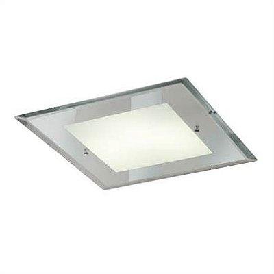 Plafon MadeLustre 2449 Embutido Quadrado CLEAN ESPELHADO 3 lamp. 28 x 28 cm Sala de Jantar Quarto e Cozinha