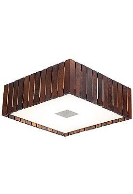 Plafon MadeLustre 2561 Castor Madeira Colonial Lustre Rustico 42 x 42 cm 4 Lamp. Sobrepor Sala Quarto e Cozinha