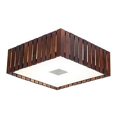 Plafon MadeLustre 2562 Madeira Colonial Lustre Rustico Castor 53 x 53 cm 6 Lamp. Sobrepor Sala Quarto e Cozinha