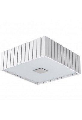 Plafon Madelustre Quadrado Rústico Branco Madeira Colonial Maciça  53x53 Castor 2562-BR   Sobrepor Sala Quarto e Cozinha