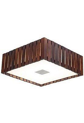 Plafon Madelustre Quadrado Rústico Madeira Colonial Maciça Imbuia  32x32cm Castor E-27 2560-IB   Sobrepor Sala Quarto e Cozinha