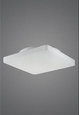 Plafon Madelustre Quadrado Slim  Vidro Leite Fosco Acetinado 45x45 Antares E-27 2475   Sobrepor Sala Quarto e Cozinha