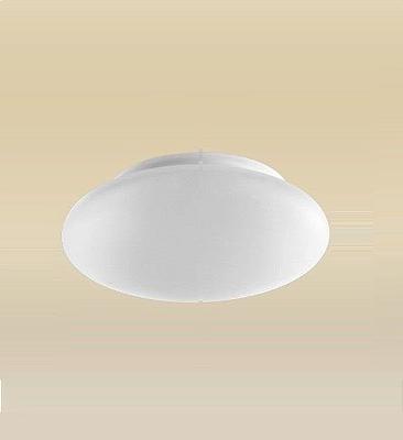 Plafon Madelustre Redondo  Branco Vidro Leite Fosco Acetinado Ø40 Ambience Led 2090.64.18A   Sobrepor Sala Quarto e Cozinha