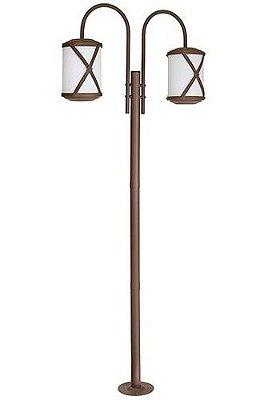 Poste Jardim Império Duplo Coluna Luminária Rústica Metal Envelhecido Vidro Fosco Made 2616 Sobrepor Sala Quarto e Cozinha