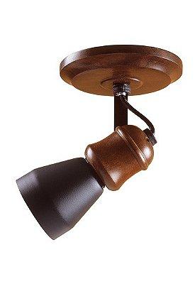 Spot Madelustre Madeira Colonial Rustica Estilo Antigo 1 Lamp. 81 Sobrepor Sala Quarto e Cozinha