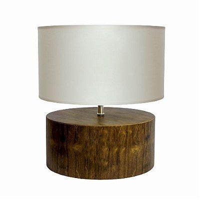 Abajur Accord Iluminação Due Cilindro Redondo Madeira Natural 38,5x40cm 1x E27 145 Mesa Jantar Cabeceiras