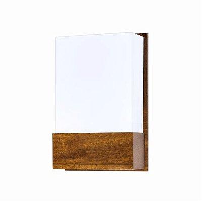 Arandela Accord Iluminação Clean Cachepô Linear Acrílico Madeira Natural 30x20cm 1x E27 110v 220v Bivolt 444 Sala Estar Entradas