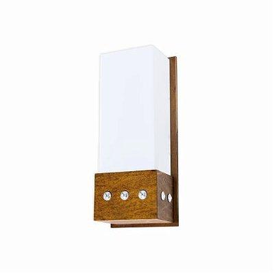 Arandela Accord Iluminação Cristais Cachepô Acrílico Madeira Natural 30x12cm 1x E27 110v 220v Bivolt 4056 Sala Estar Quartos