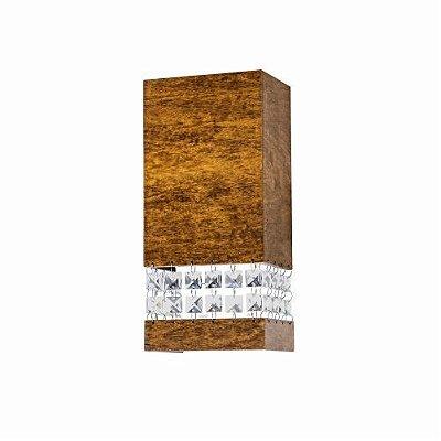 Arandela Accord Iluminação Cristais Linear Retangular Madeira Natural 25x10cm 1x E27 110v 220v Bivolt 4047 Sala Estar Quartos