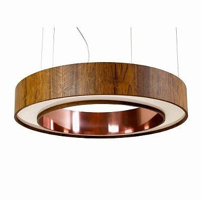Pendente Accord Iluminação Anel Cilindro Redondo Madeira Natural 12x60cm Fita LED 6W 1285CO Mesa Jantar Quartos