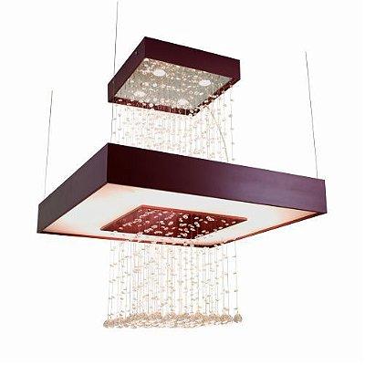 Pendente Accord Iluminação Anel Cristais Quadrado Madeira Natural 98x80cm 4x GU10 Dicróica 1245 Sala Estar Entradas