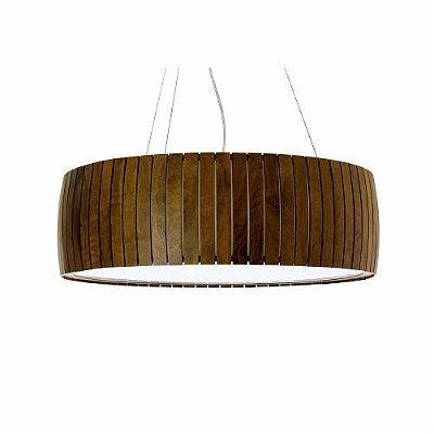 Pendente Accord Iluminação Barril Ripas Cilindro Madeira Natural 19x50cm 3x E27 110v 220v Bivolt 1110 Sala Estar Entradas