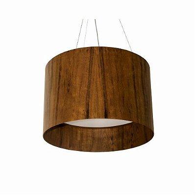 Pendente Accord Iluminação Borda Alta Cilindro Madeira Natural 39x40cm 2x E27 110v 220v Bivolt 1201 Sala Estar Quartos