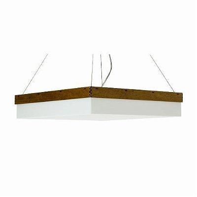 Pendente Accord Iluminação Cachepô Clean Quadrado Madeira Natural 12x40cm 3x E27 110v 220v Bivolt 280 Sala Estar Hall
