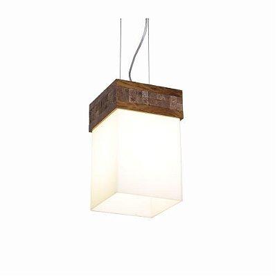 Pendente Accord Iluminação Cachepô Pastilhado Retangular Madeira Natural 30x20cm Natural 1x E27 110v 220v Bivolt 817 Sala Estar Hall