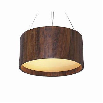 Pendente Accord Iluminação Cilindro Redondo Madeira Natural Vidro 25x50cm 3x E27 110v 220v Bivolt 202 Sala Estar Cozinhas