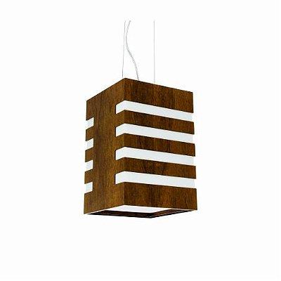 Pendente Accord Iluminação Clean Rasgos de Luz Vazado Madeira Natural 30x20cm 1x E27 110v 220v Bivolt 232 Quartos Sala Estar