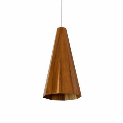 Pendente Accord Iluminação Cônico Facetado Suspenso Madeira Natural 40x22cm 1x E27 110v 220v Bivolt 1231 Sala Estar Entradas