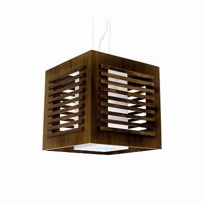 Pendente Accord Iluminação Cubo Ripas Quadrado Madeira Natural 22x22cm 1x E27 110v 220v Bivolt 101 Varandas Hall