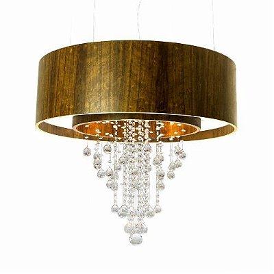 Pendente Accord Iluminação Duplo Cristal Cilindro Madeira Natural 35x120cm 12x E27/ 8x GU10 298C Sala Estar Hall