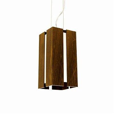 Pendente Accord Iluminação Filete Suspenso Aberto Madeira Natural 30x15cm 1x E27 110v 220v Bivolt 810 Sala Estar Cozinhas