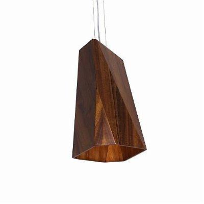 Pendente Accord Iluminação Kripton Multifacetado 8 Fases Madeira Natural 40x20cm 1x E27 108 Cozinhas Sala Estar