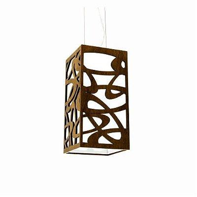 Pendente Accord Iluminação Olimpico Cubo Suspenso Madeira Natural 30x15cm 1x E27 110v 220v Bivolt 1014 Sala Estar Hall