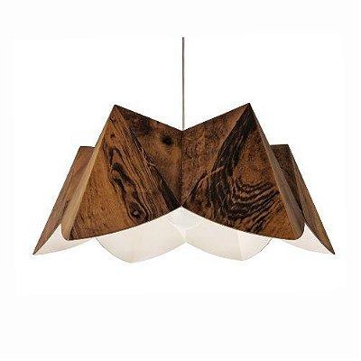 Pendente Accord Iluminação Physalis Flor Moderno Madeira Natural 20x47cm 1x E27 110v 220v Bivolt 1283 Sala Estar Quartos