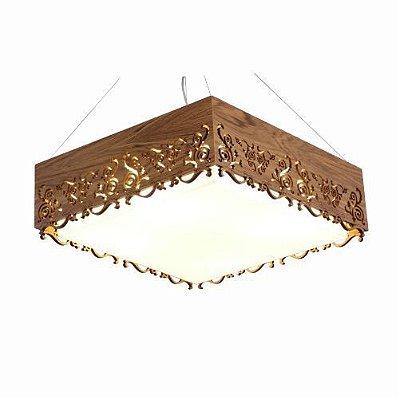 Pendente Accord Iluminação Renda Quadrado Madeira Natural Acrílico 15x35cm 2x E27 110v 220v Bivolt 1126 Sala Estar Quartos