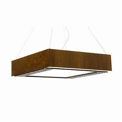 Pendente Accord Iluminação Ripas Aberto Quadrado Madeira Natural 12x40cm 3x E27 110v 220v Bivolt 527 Sala Estar Cozinhas