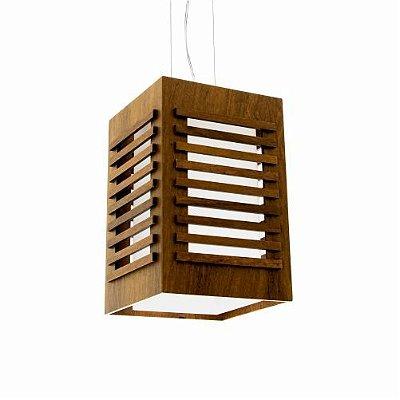 Pendente Accord Iluminação Ripas Retangular Madeira Natural Vidro 22x15cm 1x E27 110v 220v Bivolt 104 Hall Varandas