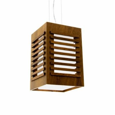 Pendente Accord Iluminação Ripas Retangular Madeira Natural Vidro 30x15cm 1x E27 110v 220v Bivolt 103 Hall Varandas