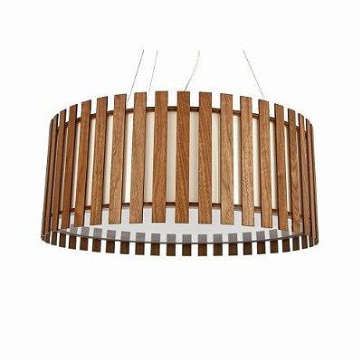 Pendente Accord Iluminação Ripas Cilindro Redondo Madeira Natural 25x50cm 3x E27 110v 220v Bivolt 1092 Sala Estar Quartos