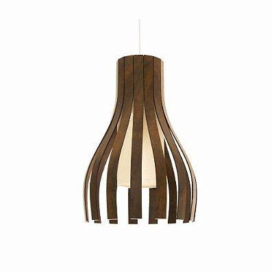 Pendente Accord Iluminação Ripas Curvas Suspenso Madeira Natural 50x35cm 1x E27 110v 220v Bivolt 269 Cozinhas Quartos