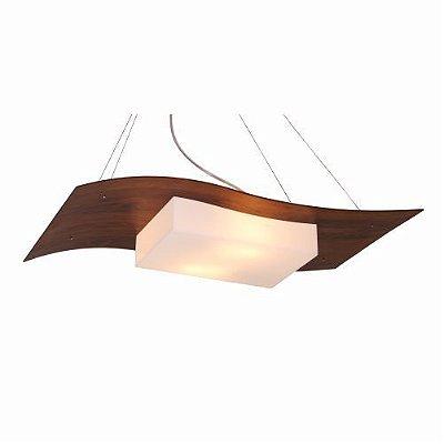 Pendente Accord Iluminação Sinuoso Curvas Orgânico Madeira Natural 6,5x60cm 2x E27 110v 220v Bivolt 1108 Sala Estar Mesa Jantar