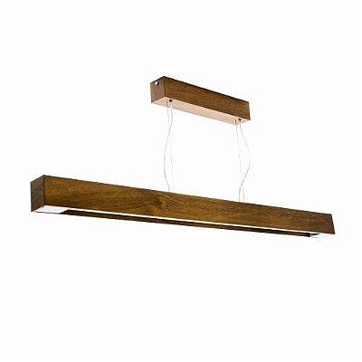 Pendente Accord Iluminação Slim Longo Horizontal Madeira Natural 8x65cm 1x Tubular 20W 1115 Mesa Jantar Balcões
