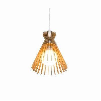 Pendente Accord Iluminação Stecche Di Legno Cônico Madeira Natural 30x27cm 1x E27 110v 220v Bivolt 1183 Sala Estar Cozinhas