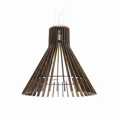 Pendente Accord Iluminação Stecche Di Legno Cônico Madeira Natural 50x51cm 1x E27 110v 220v Bivolt 1135 Sala Estar Hall