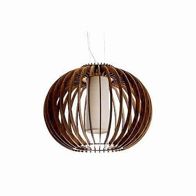 Pendente Accord Iluminação Stecche Di Legno Esfera Madeira Natural 62x80cm 1x E27 110v 220v Bivolt 1254 Sala Estar Cozinhas